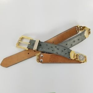 TRES COMPADRES   ostrich leather & medallion belt